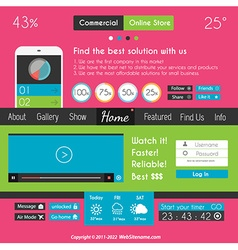 Modern Flat Style UI interface designs vector image