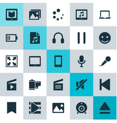 Music icons set collection of stop photo top vector