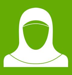 Muslim women wearing hijab icon green vector