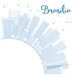 outline brasilia skyline with blue buildings and vector image vector image