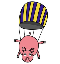 Parachuting pig vector