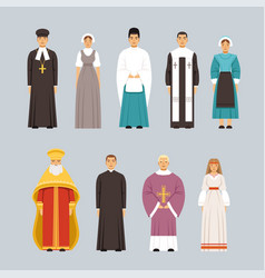 religion people characters set men and women of vector image