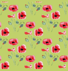 seamless background with watercolor poppies vector image vector image