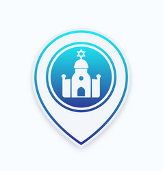 Synagogue icon on map pointer vector