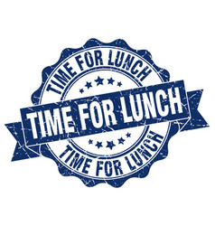 time for lunch stamp sign seal vector image vector image