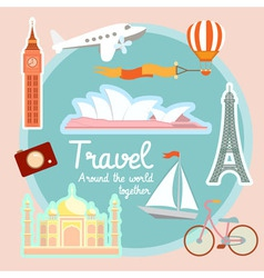 Travel and tourism around the world vector image vector image