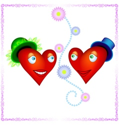 two heart lovers looking to each other with love vector image vector image