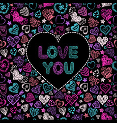 valentine s card with colorful hearts vector image vector image