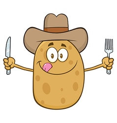 Western potato cartoon holding cutlery vector