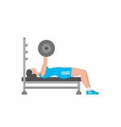 Woman pumping up muscles on bench press vector