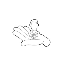 Hand holding a candidate for the job icon vector