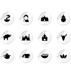 Stickers with indian icons vector image