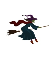 Halloween old witch flying on broom vector