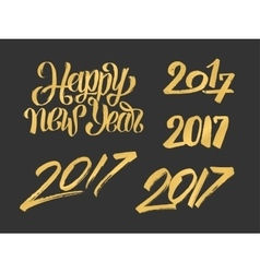 New year 2017 hand drawn calligraphy numbers set vector