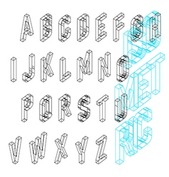 Isometric wireframe font upper case 26 latin vector
