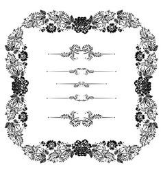 Khokhloma frame vector image