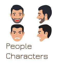 People characters sad and happy man avatar vector