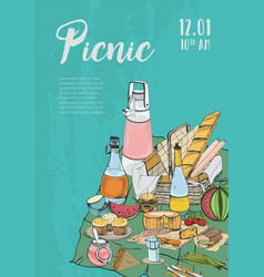 Poster banner placard to picnic with place for vector