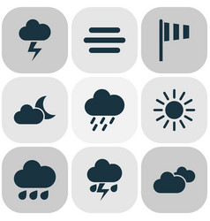 climate icons set collection of weather rainy vector image
