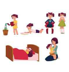 Daily routine set little girl helping mother vector