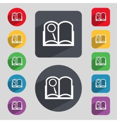 Book sign icon open book symbol set of colored vector