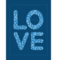 Blue white lineart plants love text frame vector