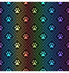 Seamless animal spectrum pattern of paw footprint vector
