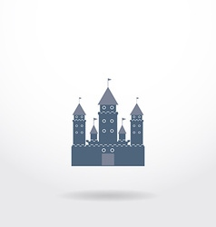 Blue castle silhouette logo on white background vector