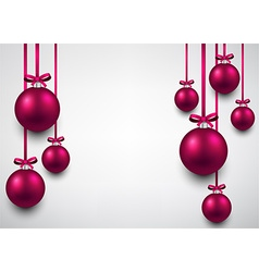 Background with magenta christmas balls vector