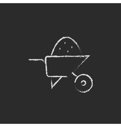 Wheelbarrow full of sand icon drawn in chalk vector image