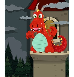 Red dragon at the castle vector image