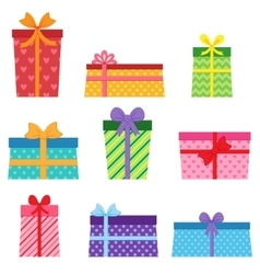 Set of colorful present boxes vector