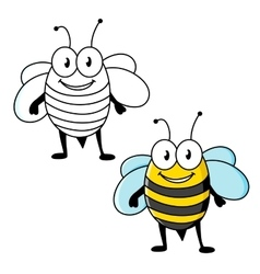 Cartoon striped bee insect with happy smile vector