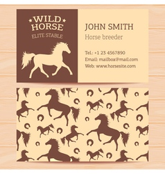 Horses business card vector