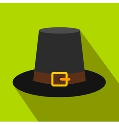 Gorgeous pilgrim hat flat icon with shadow vector
