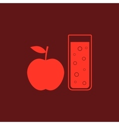 Red apple and glass of juice vector