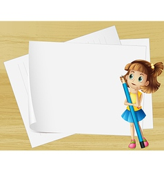 A girl thinking beside the empty papers vector