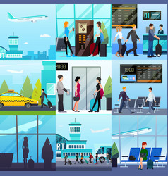 Airport express compositions set vector