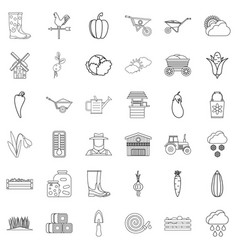 autumn icons set outline style vector image vector image