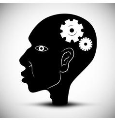 Black Man Head With Cogs - Gears vector image vector image