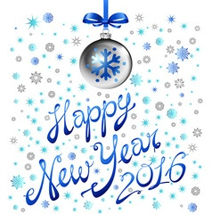 blue snowflake happy new year silver ball 2016 vector image