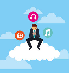 Businesman sitting cloud with mobile and social vector