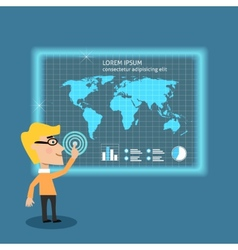 Business man analysing big data vector