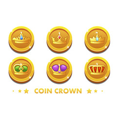 cartoon gold coins with the emblem crown vector image vector image