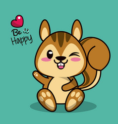 Color background with cute kawaii animal chipmunk vector