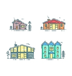 Colorful line houses icon set vector image vector image