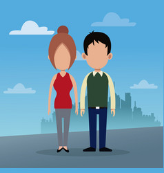 Couple social urban background vector