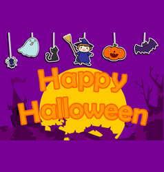 Cute happy halloween background vector