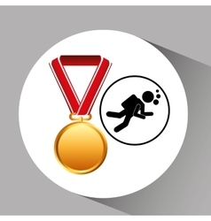 Diving medal sport extreme graphic vector