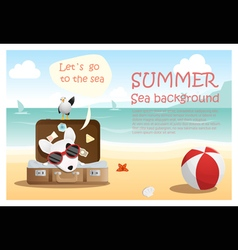 Enjoy tropical summer holiday with little dog 4 vector